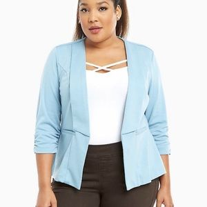Torrid Light Blue Ruched Sleeve Blazer Size 4X